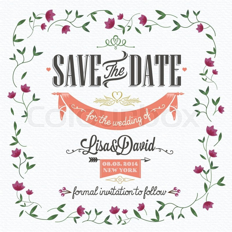 Save the date wedding invitation card stock vector colourbox save the date wedding invitation card vector stopboris Images