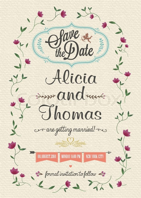 Save the date wedding invitation card stock vector colourbox filmwisefo