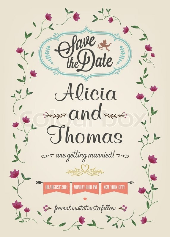 Save The Date Wedding Invitation Card Stock Vector Colourbox