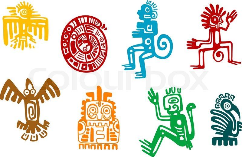 Abstract Maya And Aztec Art Symbols Isolated On White
