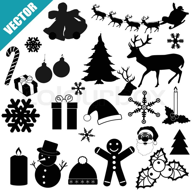 weihnachten icon set vektorgrafik colourbox. Black Bedroom Furniture Sets. Home Design Ideas