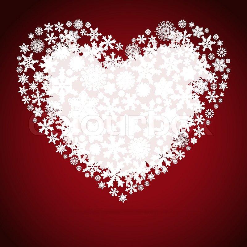 Christmas heart snowflake design background stock