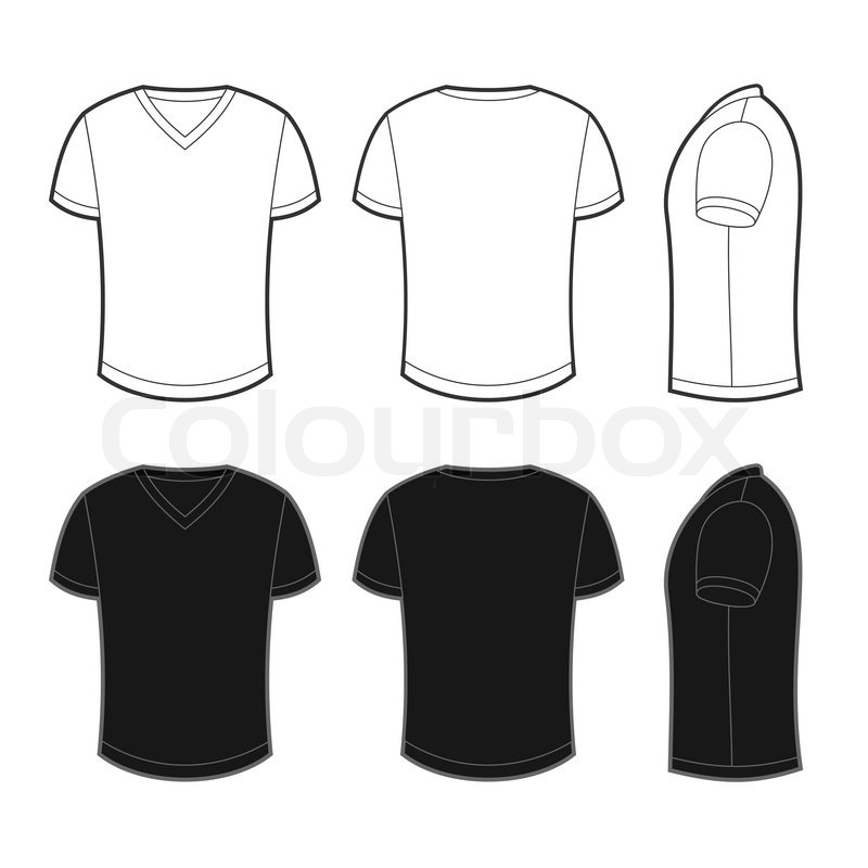 Front, back and side views of white and black blank t-shirt | Stock ...