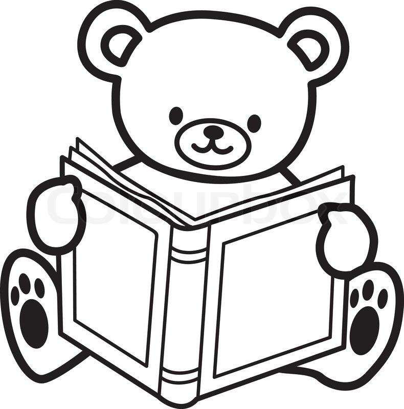 Teddy Bear Reading Book Vector