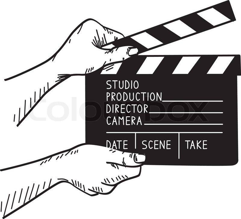 Doodle vector illustration of film set clapper   Stock ...