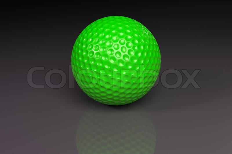 Grüne Golfball auf grau leicht reflektierenden Hintergrund ...
