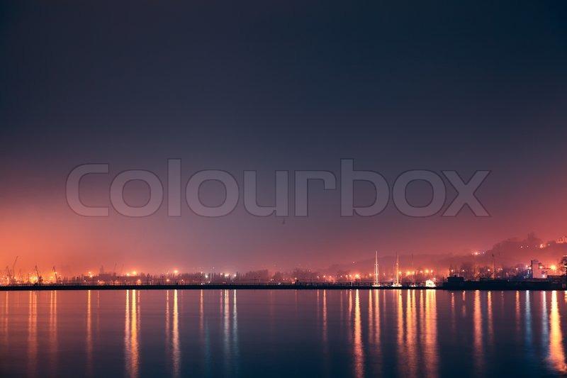 Night sea,port, stock photo