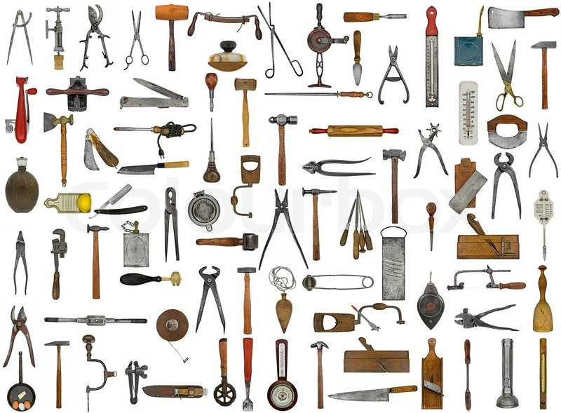 Vintage Tools And Utensils Collage Background Stock