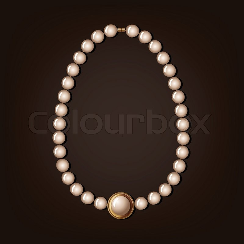 Pearl necklace - vector illustration | Stock Vector ...