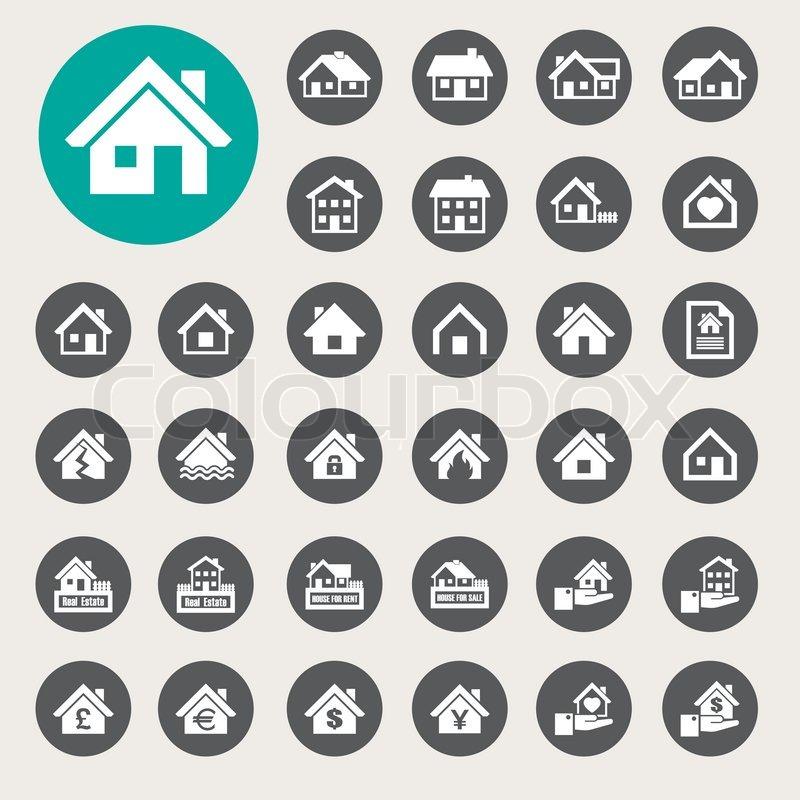 houses icons set real estate illustration eps10 stock
