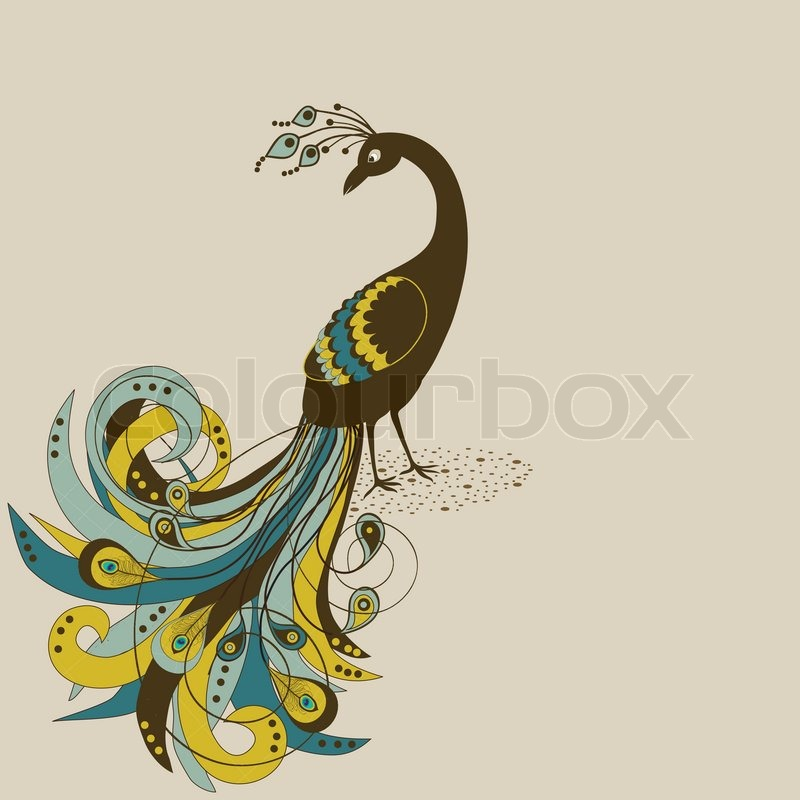 Abstract beautiful peacock | Stock Vector | Colourbox