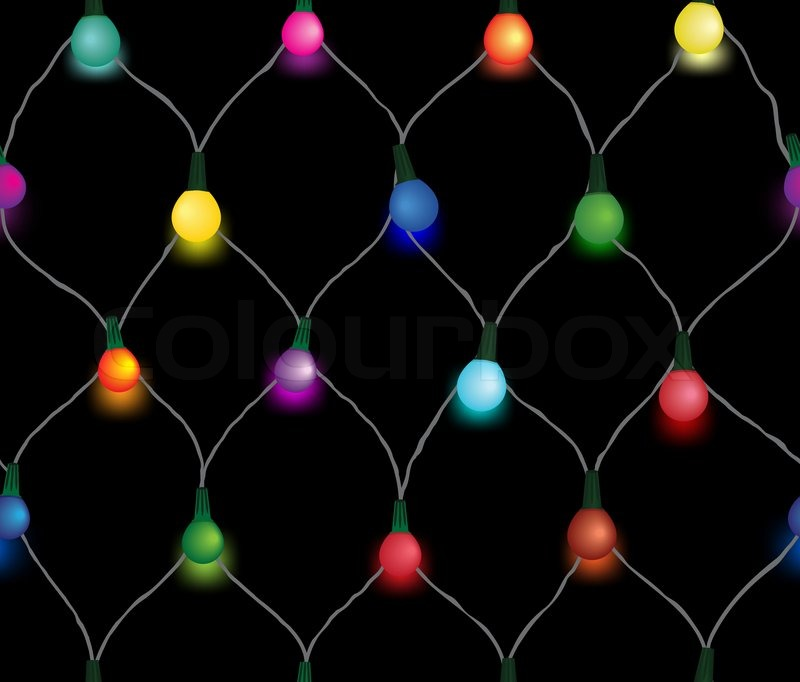 Seamless String Of Christmas Lights On Garland Vector Background