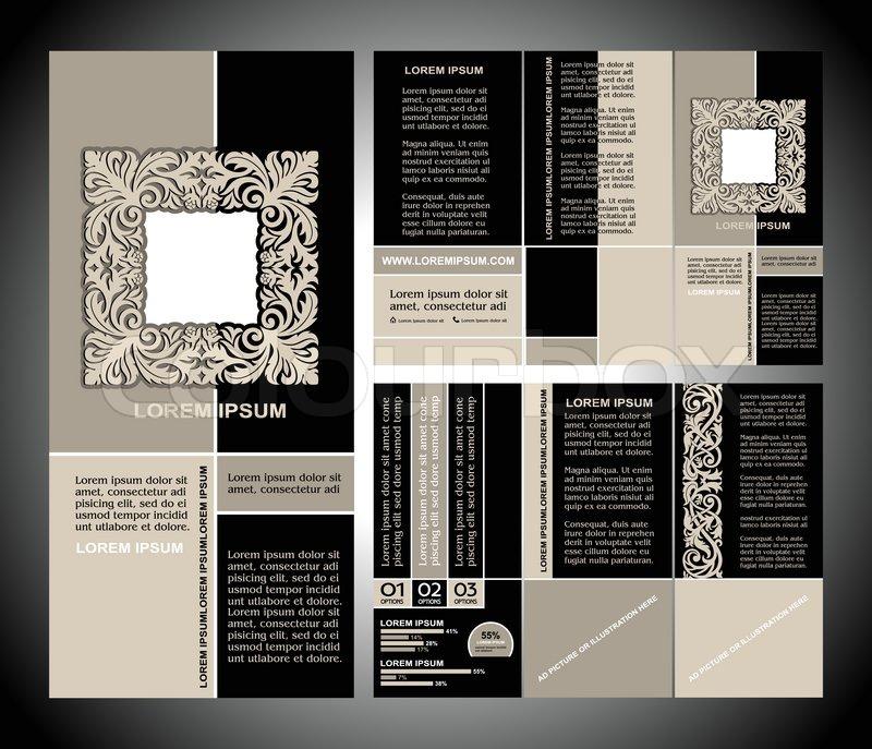 vintage style brochure template design with modern art. Black Bedroom Furniture Sets. Home Design Ideas