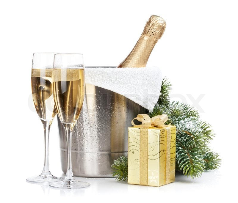 Champagne Bottle In Ice Bucket Two Empty Glasses And