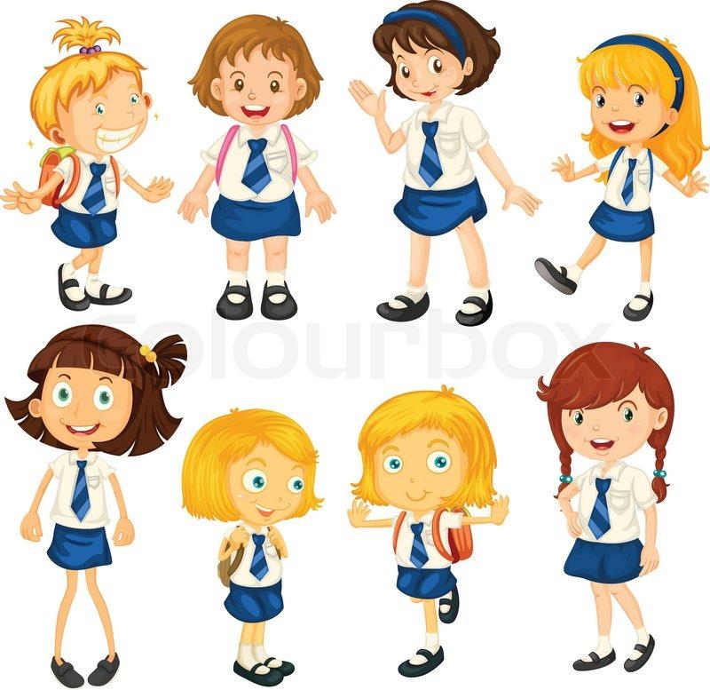 School Girls Stock Vector Colourbox