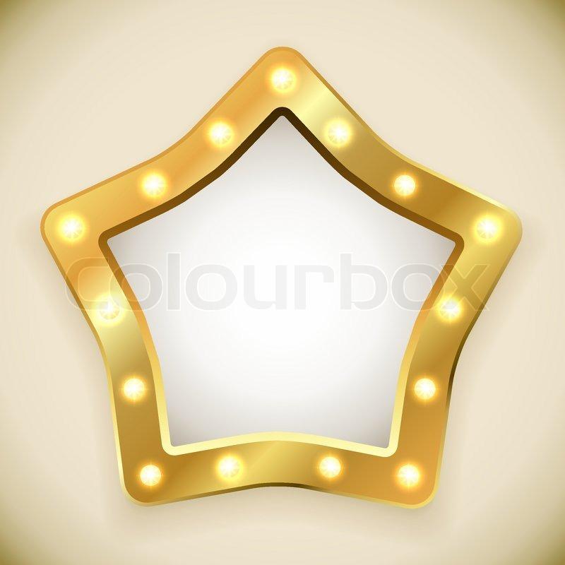 Blank golden star frame with light bulbs vector illustration ...