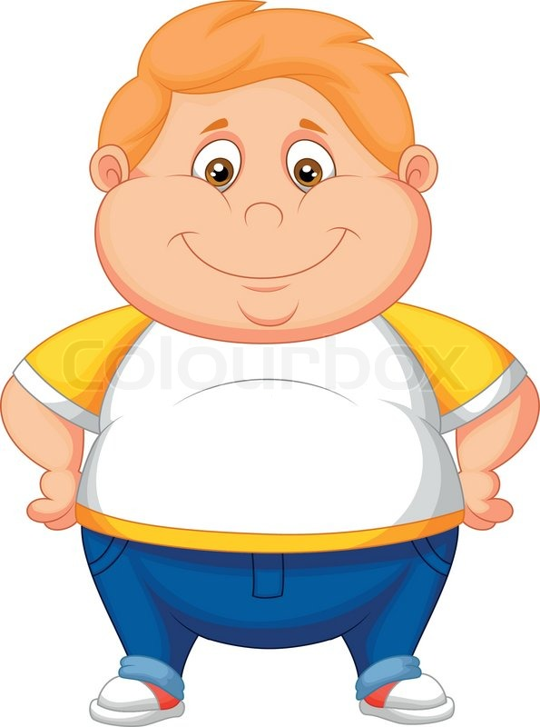 Overweight Black Kids Vector illustration of...
