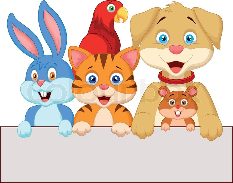 vector illustration of cartoon pet animals holding blank
