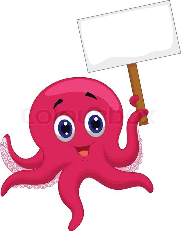Octopus Cartoon Holding Blank Sign Stock Vector Colourbox