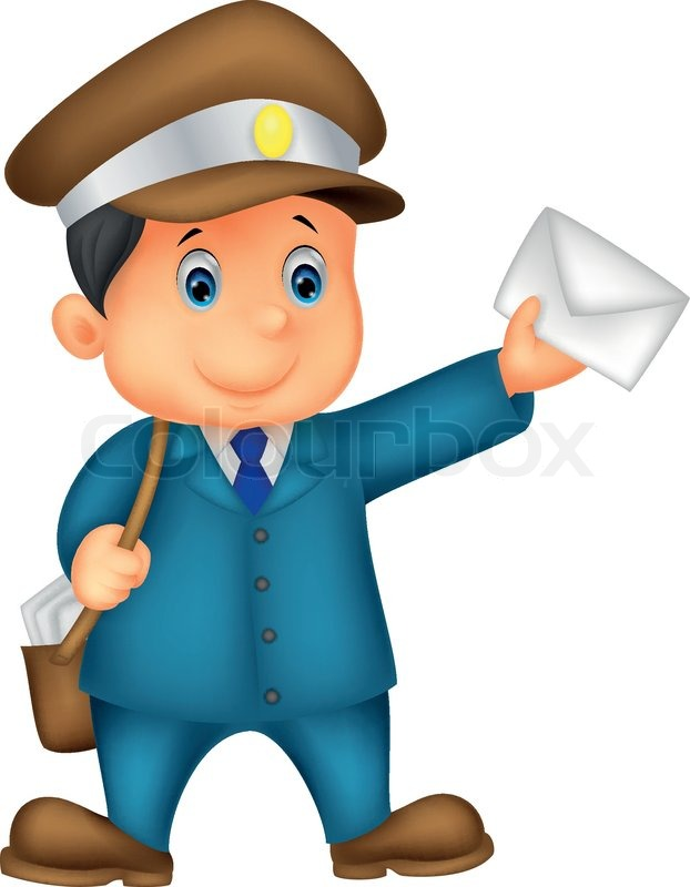 Vector Illustration Of Mail Carrier Cartoon With Bag And