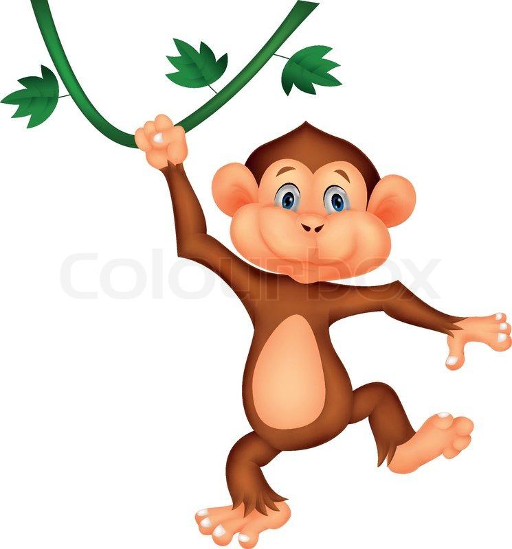 Cartoon Monkey Hanging Upside Down Monkey Hanging Upside Down