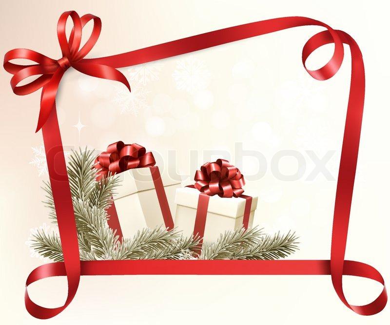 Weihnachtsferien Hintergrund mit Geschenkband mit Geschenk-Box ...