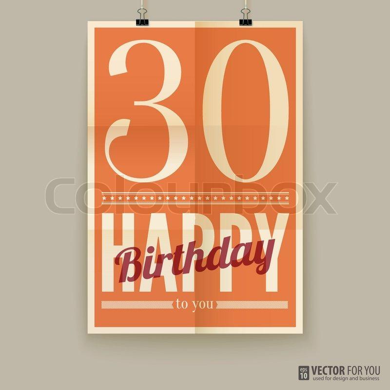 30 års kort Tillykke med fødselsdagen plakat, kort, 30 år gammel | stock  30 års kort