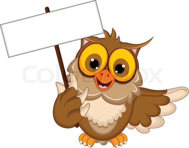 Vector illustration of owl cartoon posing with blank sign eps 10 vector illustration of owl cartoon posing with blank sign eps 10 rgb color stock vector colourbox voltagebd Choice Image