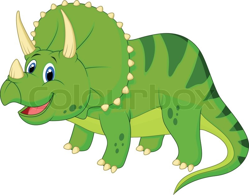 cute triceratops cartoon stock vector colourbox