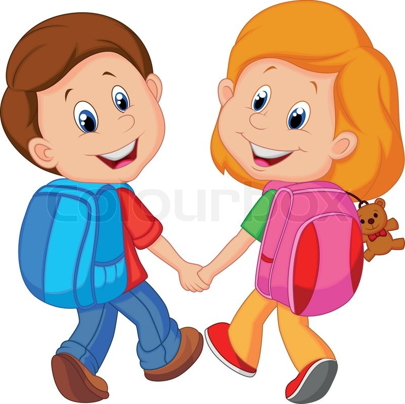 Cartoon Boy and girl with backpacks | Stock Vector | Colourbox