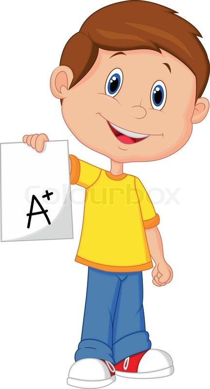 vector illustration of boy cartoon showing a plus grade graduation clipart class of 2018 graduation clipart class of 2018