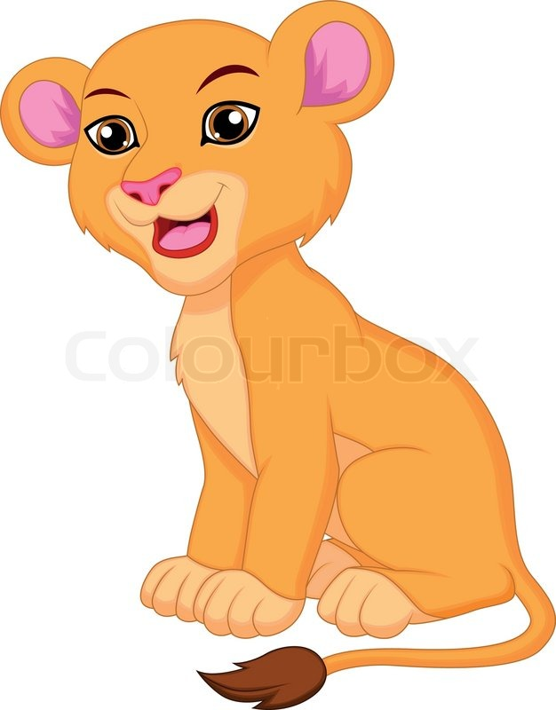 vector illustration of cute lioness cartoon stock vector colourbox