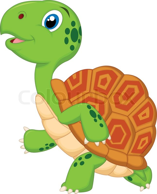 Cute turtle cartoon running stock vector colourbox