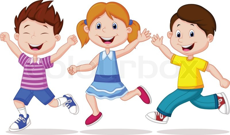 stock vector of vector illustration of happy children cartoon running - Cartoon Picture Of A Child