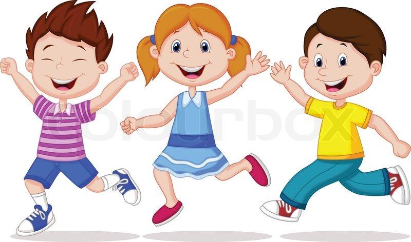 happy children cartoon running - Cartoon Picture Of Children