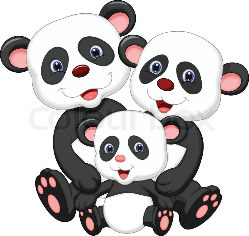 Vector illustration of Panda bear family cartoon | Stock ...