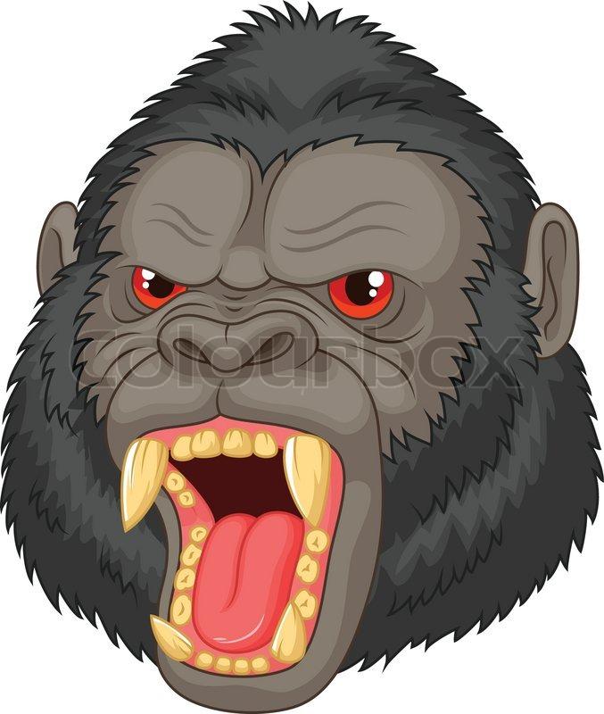 Gorilla Face Cartoon Angry Gorilla Head Cartoon