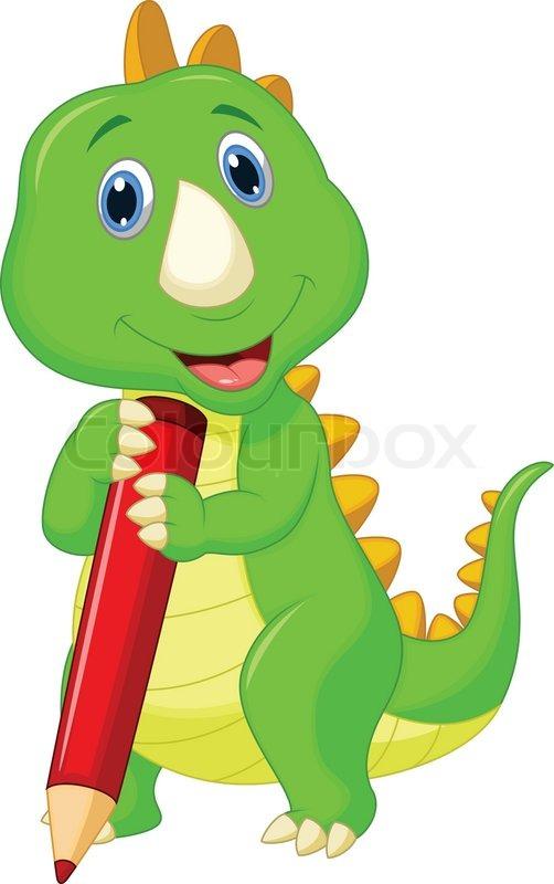 cute dinosaur cartoon holding red pencil stock vector