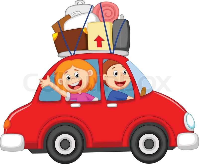 Vector Illustration Of Family Cartoon Traveling With Car