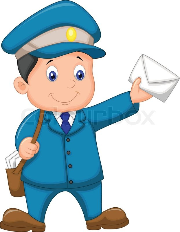 Mail Carrier Cartoon With Bag And Letter Stock Vector