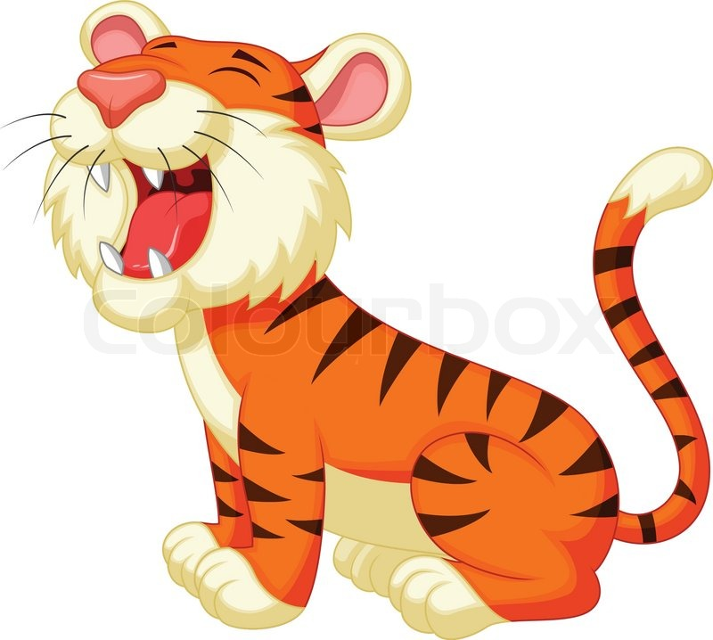 Cute tiger cartoon roaring | Stock Vector | Colourbox
