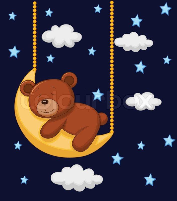 Baby Bär Cartoon schlafen auf dem Mond   Vektorgrafik   Colourbox