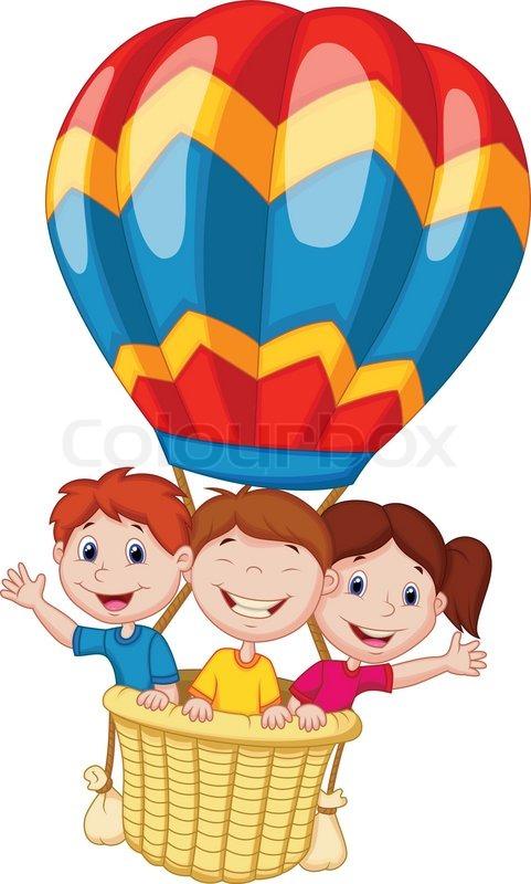 Glückliche kinder cartoon reiten einen heißluftballon