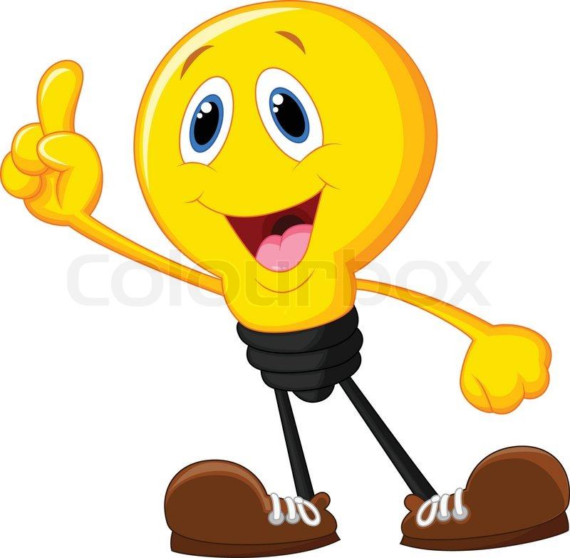 Vector illustration of Cartoon light bulb pointing his ...