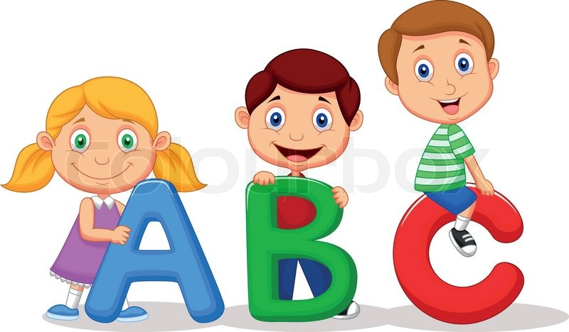 stock vector of vector illustration of children cartoon with abc alphabet - Cartoon Image Of Children