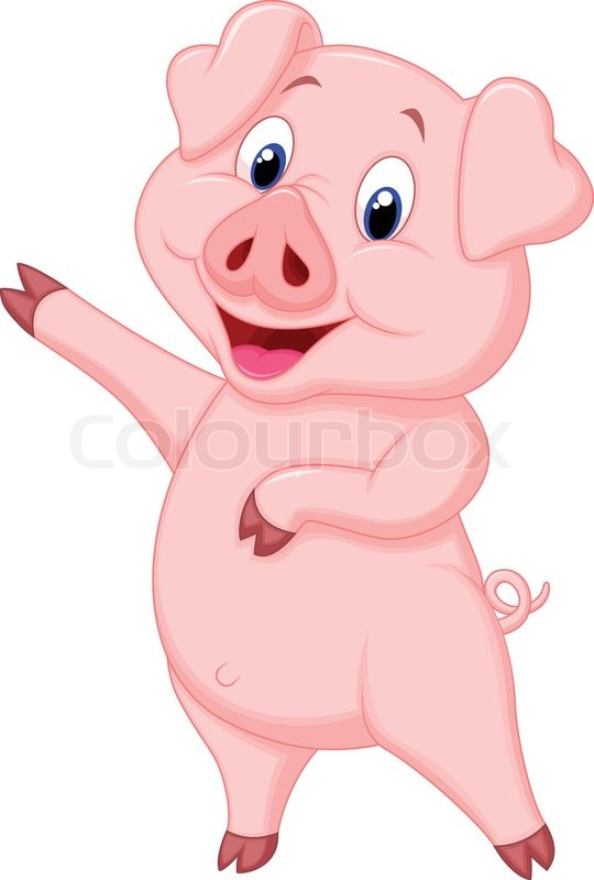Vector illustration of cute pig cartoon presenting stock