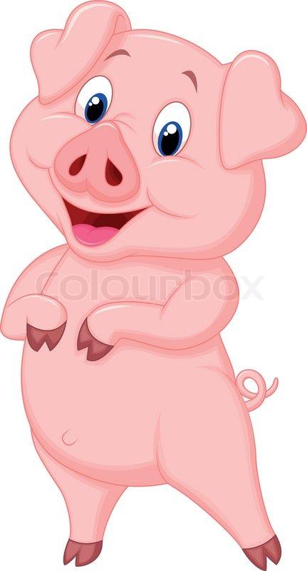 Vector illustration of cute pig cartoon posing stock - Pig wallpaper cartoon pig ...