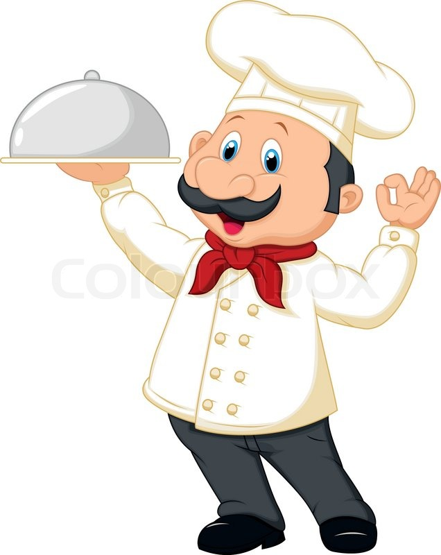 Vector illustration of chef cartoon holding platter