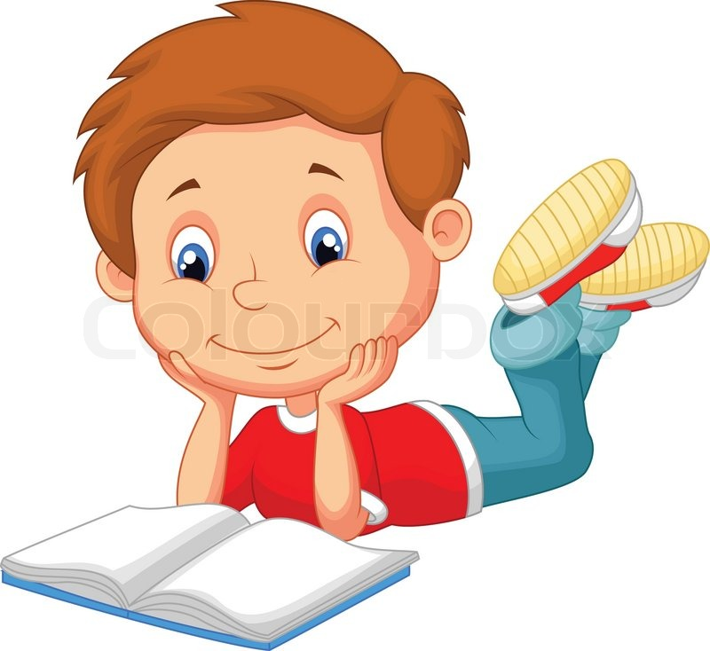 Cartoon Characters Reader : Vector illustration of cute boy cartoon reading book