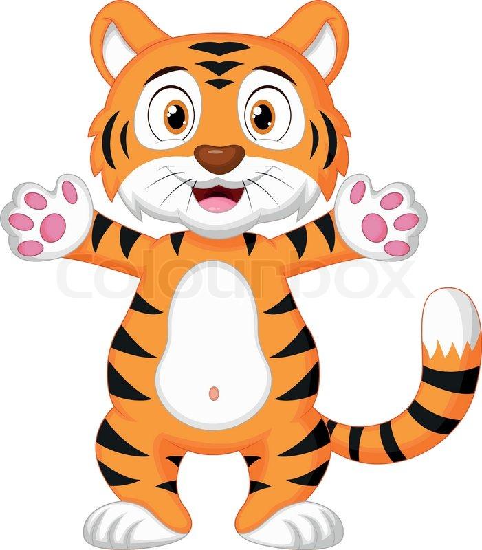 Vector illustration of Cute baby tiger cartoon | Vector | Colourbox
